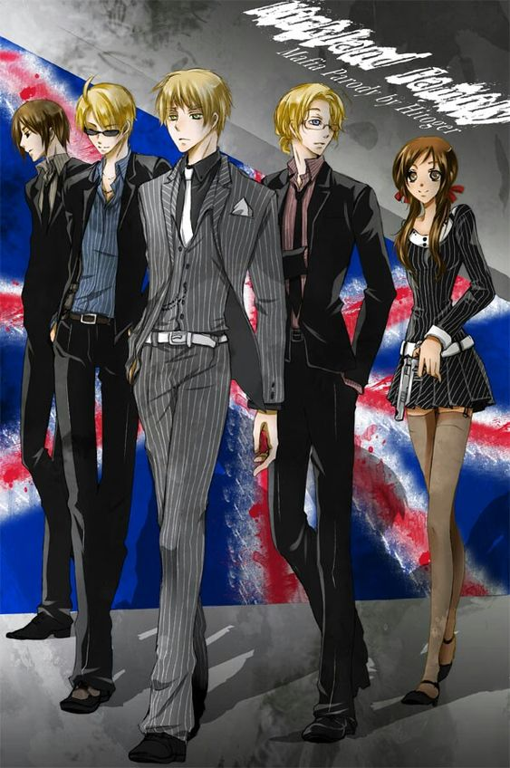 Hetalia Mafia Hongkong,America,England,Canada,Syechelles, also known as the Kirkland Family, are here looking awesome as ever in their mafia form.