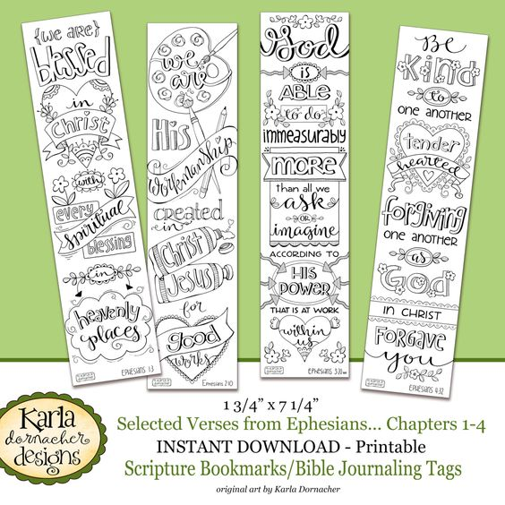 Ephesians 1 4 Color Your Own Bookmarks Bible Journaling