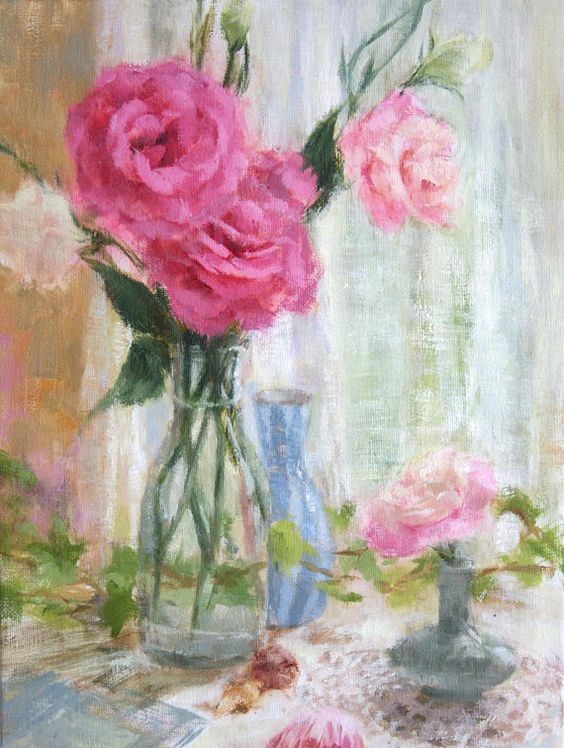 oil painting pink flower - photo #26