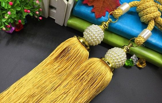 "11"" Luxury Double Head Curtain Tassel Tieback Holdback Large GOLD/YELLOW, PEARLS #Unbranded"
