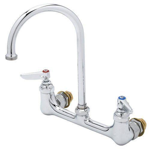 T S Brass B 0331 Cc Faucet Wall Mount 8 Centers Swivel Gooseneck 12 Npt Male Inlets Wall Mount Faucet Faucet Wall Mount