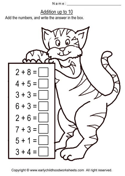 Image detail for To print this worksheet click Addition up to 10 – Addition to 10 Worksheet