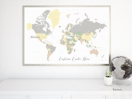 Custom Quote World Map With Countries US States Canadian - Us map with world map in the corner