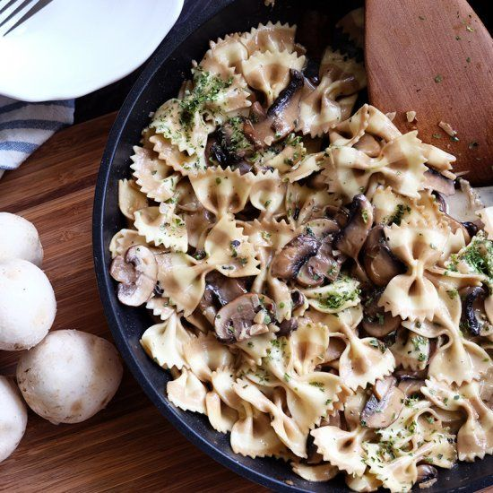 "Creamy Wild Mushroom Pasta - a comfort dish brimming with rustic, earthy flavors that make you go ""delizioso!"""