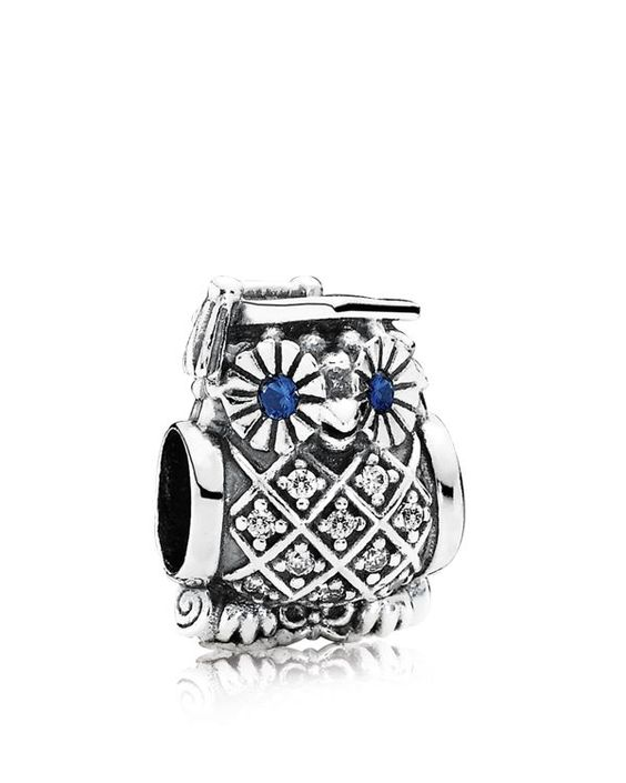 Pandora Charm - Sterling Silver, Cubic Zirconia & Crystal Graduate Owl, Moments Collection