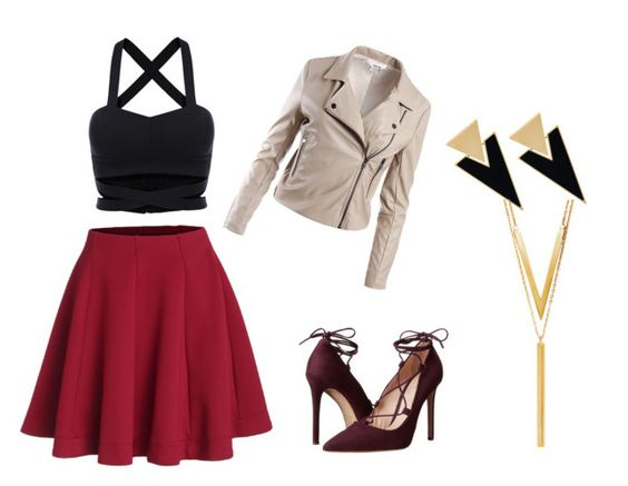 """""""skater skirt"""" by fany-3 on Polyvore featuring moda, Sans Souci, Massimo Matteo, Yves Saint Laurent y BERRICLE:"""