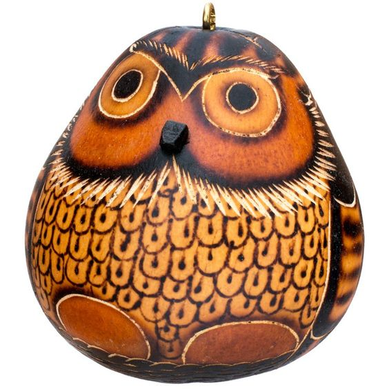 love it! handcarved gourd owl from dbg.org