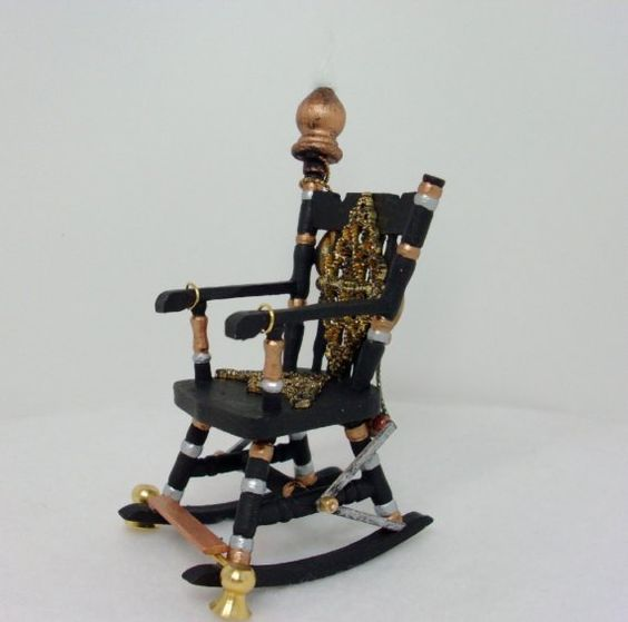Steampunk Rocking Chair Dollhouse Miniature 1/12 by debsminis