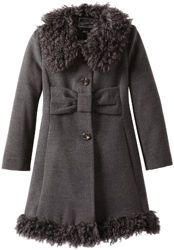 Rothschild Girls Fully Lined Wool Coat With Attached Hood (Black