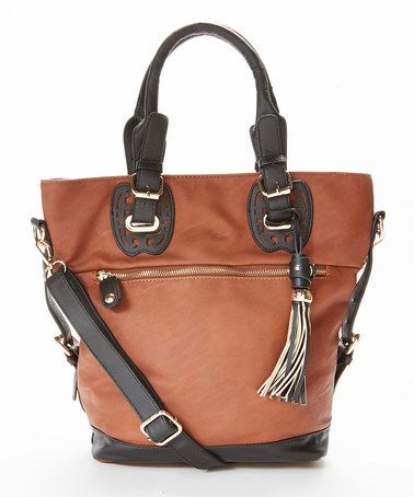 Love this Cognac & Black Convertible Satchel by Fabulous Age on #zulily! #zulilyfinds