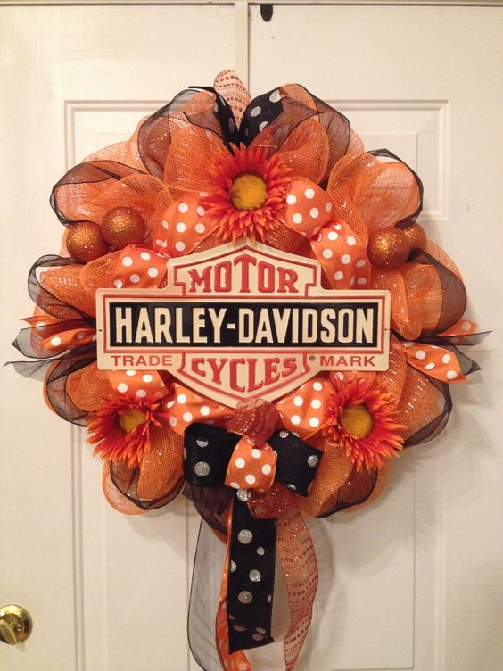 Harley davidson wreath in orange poly deco mesh with metal for Deco harley davidson