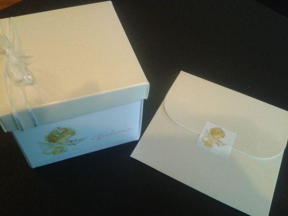 Caja 8x8 con denario + estampa con sobre de bautismo