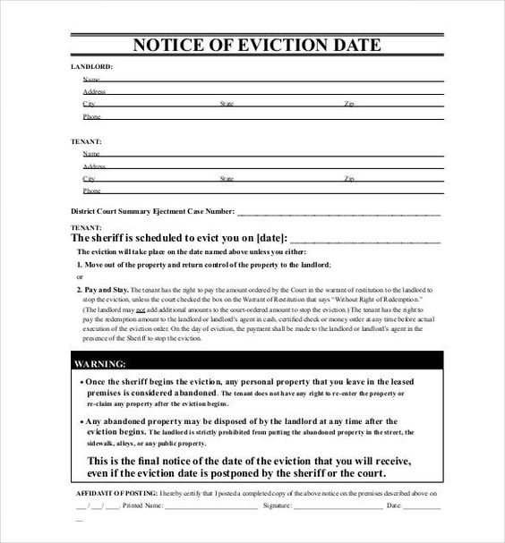 Free Printable Eviction Notice Template -    wwwvalery - final notice template