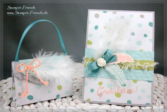 Geburtstagskarte mit einem Täschchen für Gutschein in Scheckkarten-Format