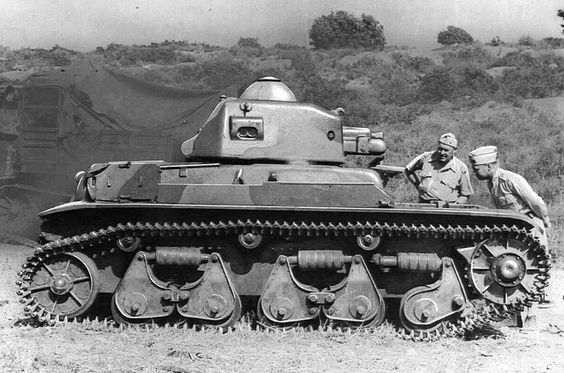 Armor - Renault R-35 - French WW II Light Infantry Tank – Crew of 2 (Commander, who also Acted as Gunner and Loader and a Driver) Armament: One 37mm (L-21 SA18) Cannon and One 7.5mm (MAC31 Reibel) Machine Gun – 1,540 were Built (1936-1940)