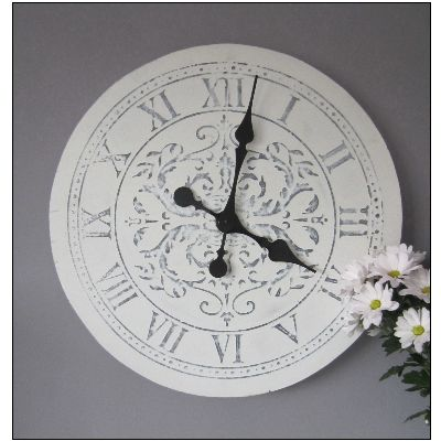 LARGE 55CM aged WHITE french WALL CLOCK Shabby Chic