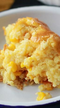 Sweet Corn Spoonbread _ is a favorite at our house. It's one of those dump, stir, & pour recipes that we all love, but it tastes like so much more! Growing up we called this corn pudding. It is so good! | Southern Bite