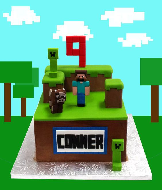 Minecraft Cake toppers and complete decoration by TheCupcakeForge, $70.00: