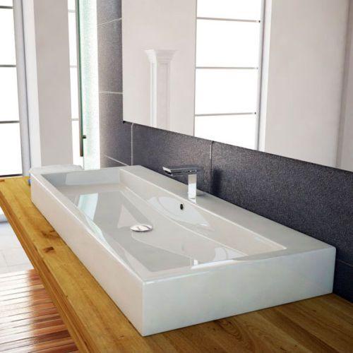 100CM-WASCHTISCH-WASCHBECKEN-DOPPELWASCHBECKEN-WEIss-WANDMONTAGE - Waschtische Für Badezimmer
