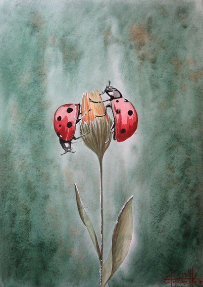 Ladybug Flying Drawing : ladybug, flying, drawing, Ladybug, (2019), Watercolor, 42*30cm, Watercolour, Eugene, Gorbachenko, Canvas, Projects,, Painting