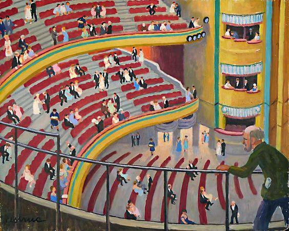 L'opéra de Marseille-Huile sur isorel (81x65 cm)-Edmond Astruc