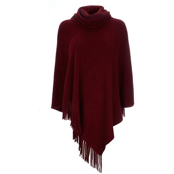 Wallis Berry Fringe Rib Poncho ($27) ❤ liked on Polyvore featuring outerwear, poncho, jackets, tops, coats, berry, women, red cape coat, fringed cape and red cape