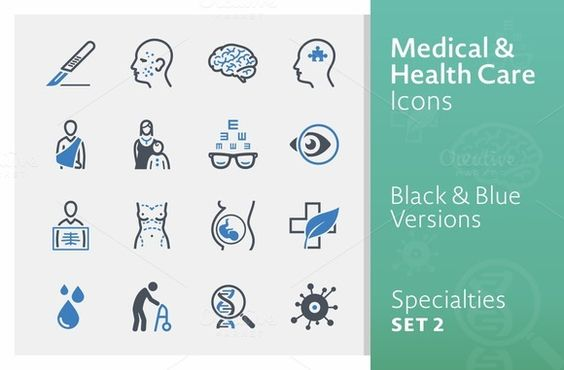 Medical Specialties Icons - Set 2 by introwiz1 on @creativemarket