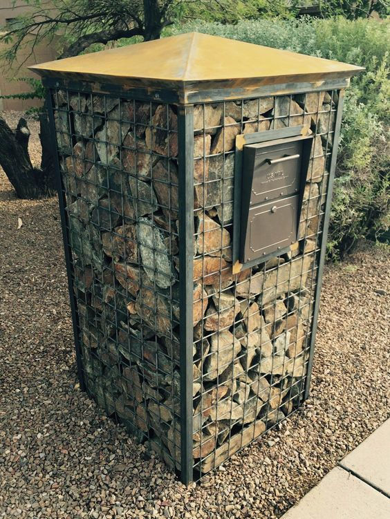 Gabion wall Landscapes and Mailbox designs on Pinterest