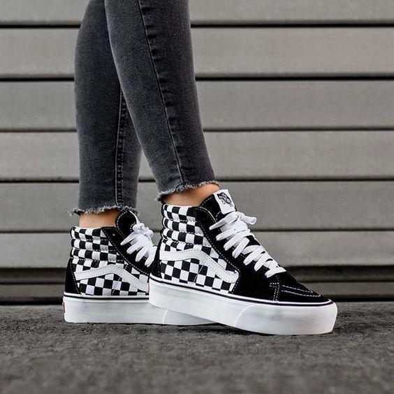 Hoge Geblokte Vans Sneakers in 2020 | Aangepaste schoenen ...