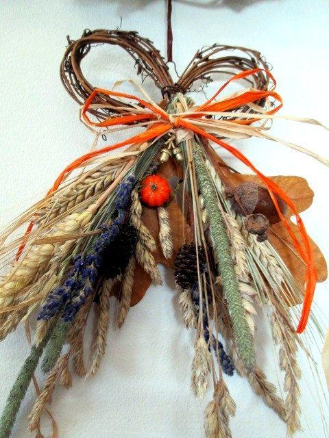 Handmade Autumn Fall Harvest Bow Wreath by PositivelyPagan on Etsy