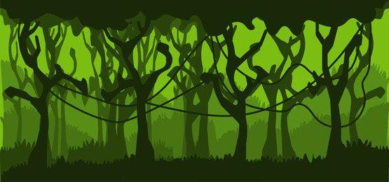 خلفية الأشجار الخضراء في ناقلات الغابة In 2021 Blue Sky Background Cartoon Trees Background Images