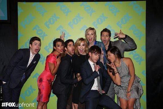 the Glee Cast with Demi Lovato at the Fox Upfronts