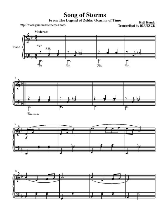 The Legend Of Zelda Song Of Storms P 1 Piano Sheet Music Sheet