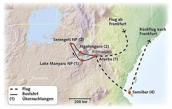 Tansania Karte - Höhepunkte Tansanias mit Sansibar