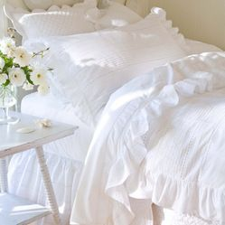 """Taylor Linens - Elisa Egg-Shell White Queen Duvet - If you fail to understand the concept of """"no frills,"""" this duvet cover is for you! Made ..."""