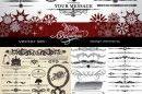 ヴィンテージなクリスマスカード作りにもってこい!飾り枠、飾り罫、飾り文字詰め合わせ