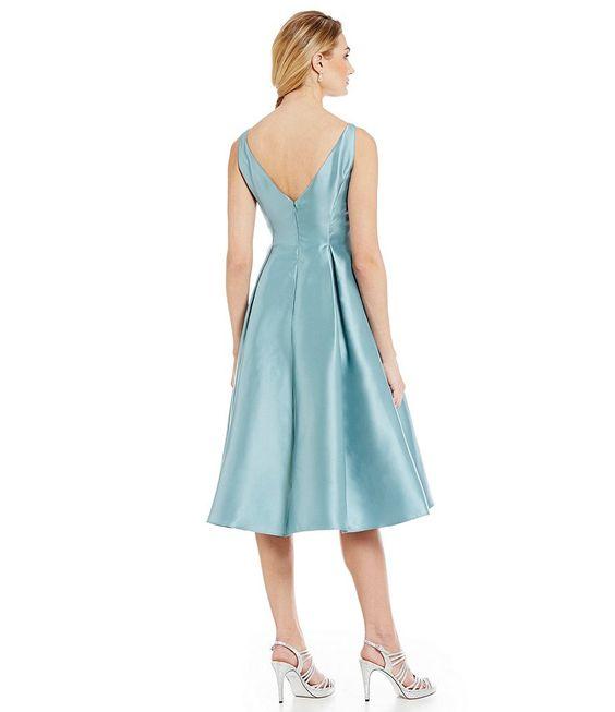 Frost:Adrianna Papell Sleeveless Midi Taffeta Dress