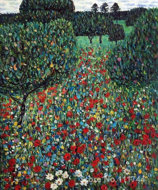 Paintings For Wall In Bedroom Poppy Field By Gustav Klimt Landscapes Art High Quality Hand Painted Klimt Art Gustav Klimt Klimt