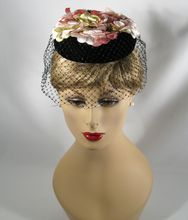 Vintage 1960s Hat Black Velvet w/ Pink Velvet Flowers and Netting Fascinator by Dayne
