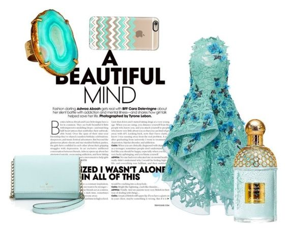 """""""A Beautiful Mind"""" by daniellejosephinevogue ❤ liked on Polyvore featuring Monique Lhuillier, Mela Artisans, Kate Spade, Guerlain and Casetify"""