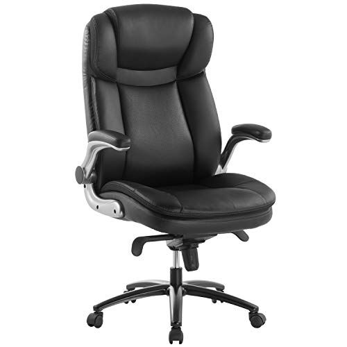 Topsky Executive Office Chair Large Leather Chair Filp Up Armrest Recline Locking Mechanism Memory Foam Seat Office Chair Leather Chair Executive Office Chairs
