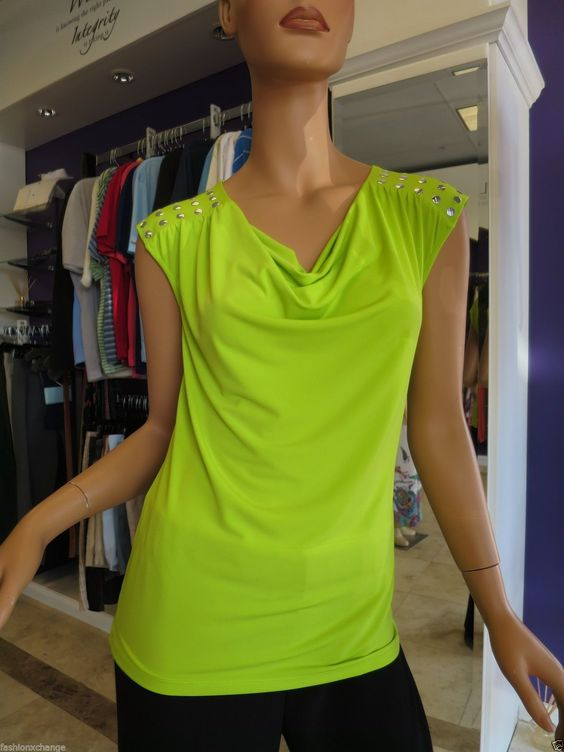 MICHAEL KORS Neon Lime Green Cowl Neck Studded Shoulders Stretchy Top Size Small Price: $19.99. Visit our website at www.fashionxc.com to purchase and locals choose free in-store pickup!
