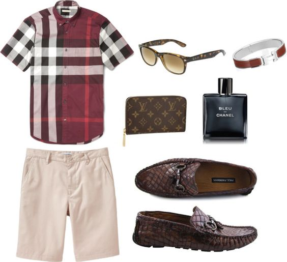 "Laid Back and Relaxed by luxefashion featuring chanelHermès bracelet bangle / Paul Parkman Mens Driving Moccasin Brown Croco Embossed Leather Upper / Burberry Brit Slim-Fit Plaid Cotton Shirt / Old Navy Mens Flat Front Khaki Shorts 10"" / Ray Ban NEW WAYFARER Sunglasses, $175 / Chanel , $70"