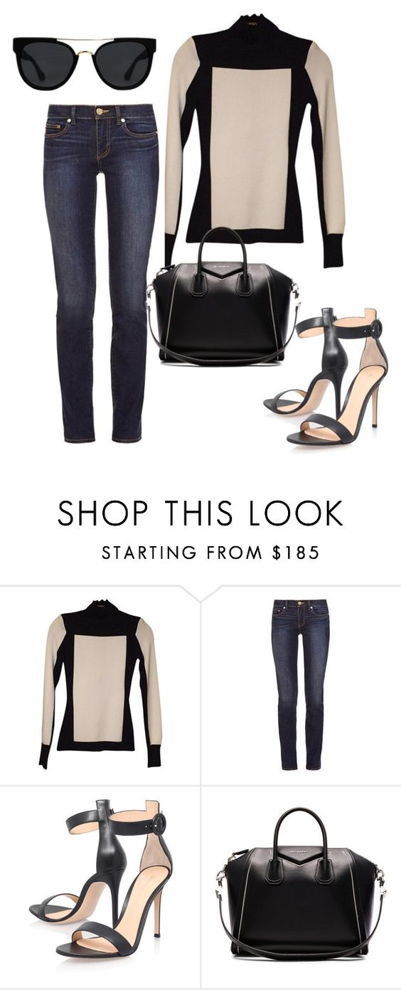 """Untitled #2865"" by styledbycharlieb ❤ liked on Polyvore featuring Balmain, Tory Burch, Gianvito Rossi, Givenchy and Quay"