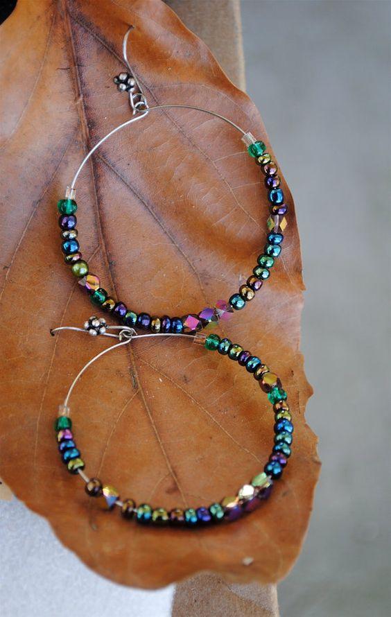 Metal and Arboreal Borealis Bead Hoop Earrings by Thumbelyna, $10.20