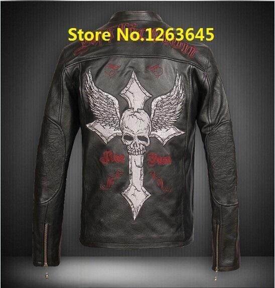 Cyber Monday Skulls Men Skull Heads Plus Size 4xl 5xl 6xl Genuine Leather Jacket Man Cow Leather Jac In 2021 Leather Jacket Men Long Sleeve Tshirt Men Mens Winter Coat
