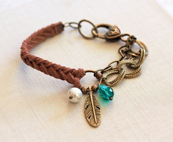 Mocha Suede Feather Bracelet, Braided Faux Suede Bracelet, Feather Charm, Charm Bracelet, Friendship Jewelry, Brass Metal Chain, Arm Candy