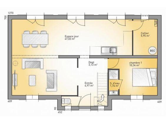 Plans De Maison : RDC Du Modèle Vexin Maison Traditionnelle à étage De  123m2. 3 Chambres + 1 Suite Parentale #Maison #Traditionnelle  #MaisonsFranceu2026
