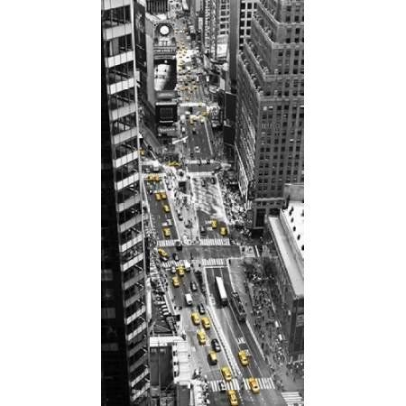 Yellow taxi in Times Square NYC Canvas Art - Michel Setboun (10 x 20)