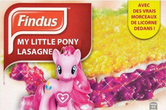 My LITTLE PONY LASAGNE  Les jeux pour filles «petit poney» ont également été la cible des internautes, qui ont associés les jouets à la boîte de lasagnes.